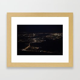 Fort Myers at night, taken from my window seat on the plane back from Ohio. Framed Art Print