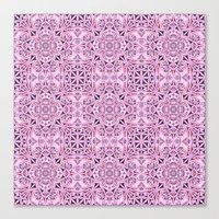 wallpaper Canvas Prints featuring Pink kaleidoscope wallpaper by David Zydd
