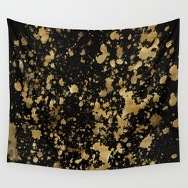 Black & Gold Splash Wall Tapestry