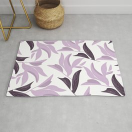 Abstract modern pastel lavender white leaves floral Rug