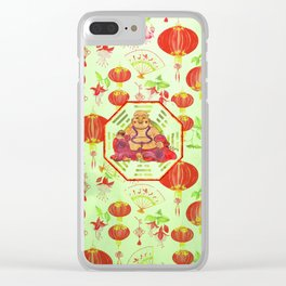 Watercolor Laughing Happy Buddha on Bagua Clear iPhone Case