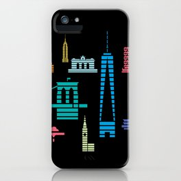 New York Skyline One WTC Poster Black iPhone Case