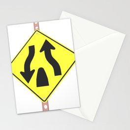 """Divided highway"" - 3d illustration of yellow roadsign isolated on white background Stationery Cards"