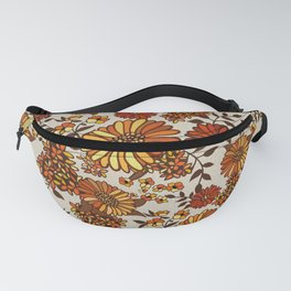 Retro 70s boho hippie orange flower power Fanny Pack