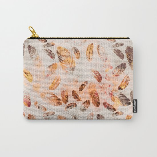 Autumn Feathers watercolor pattern Carry-All Pouch