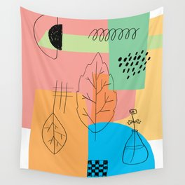 Floral Seasons Illustration Digital Collage Wall Tapestry