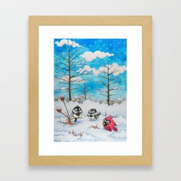 Winter: Two Chickadees and a Cardinal Framed Art Print