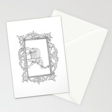 grey frame with elephant Stationery Cards