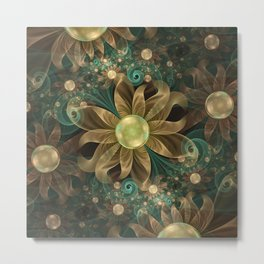 Shining Gems Blooming as Bronze and Copper Flowers Metal Print