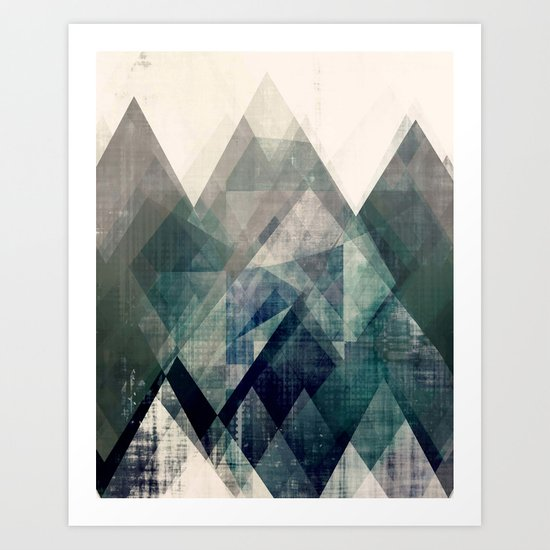 Mountains print, Abstract print, geometric wall art, abstract mountain, minimalist art, modern art, by amylighthall