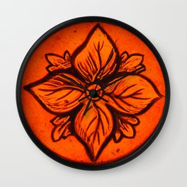 Medieval Stained Glass Flower Wall Clock