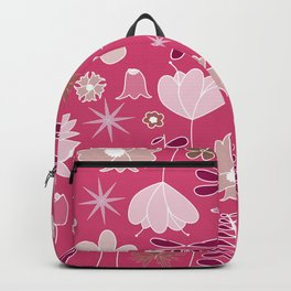 Miscellaneous flowers in a pink backgound Backpack