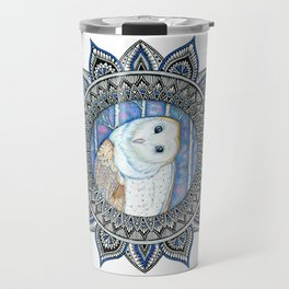 Winter Barn Owl Mandala Travel Mug