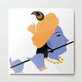 Lord Krishna Art Metal Print