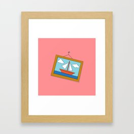 Scene from Moby Dick on pink Framed Art Print