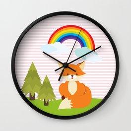 Fox, Rainbow , Pink , nursery decor , Wall Clock