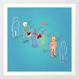 anatomy exploded Art Print
