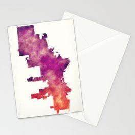 Milwaukee Wisconsin city watercolor map in front of a white background Stationery Cards