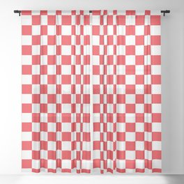 Red Checkerboard Pattern Sheer Curtain