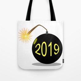 Cartoon 2019 New Year Bomb Tote Bag
