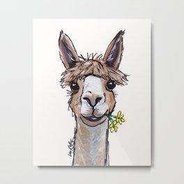 Lycoming the Alpaca, Alpaca Art Metal Print