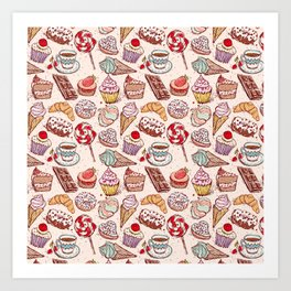 Hand drawn confectionery croissant Cupcake candy ice cream cake donut and coffee Art Print