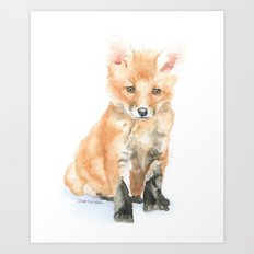 Baby Fox Watercolor Painting - Woodland Animal Art Print