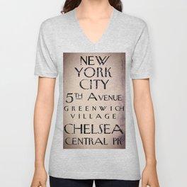 New York City Street Sign II Unisex V-Neck