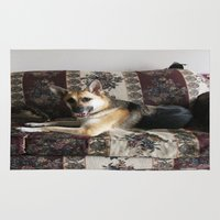 german shepherd Area & Throw Rugs featuring Tara the Diva German Shepherd by Klacey's Photography