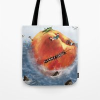roald dahl Tote Bags featuring James And The Giant Peach. by Jamie Briggs