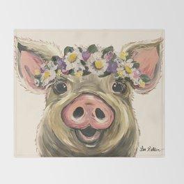 Farm Animal Art, Pig Art Throw Blanket
