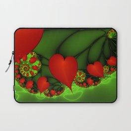 Dancing Red Hearts Fractal Art Laptop Sleeve