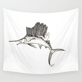Surfing the fish Wall Tapestry