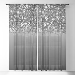 Black & Gunmetal Gray Silver Glitter Ombre Sheer Curtain