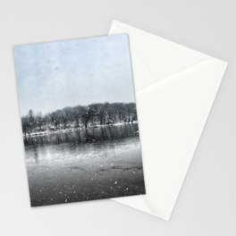 Winter Panoramic Rock River - Illinois Stationery Cards