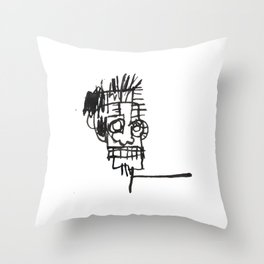A vectorised and reworked Basquiat notebook sketch Throw Pillow