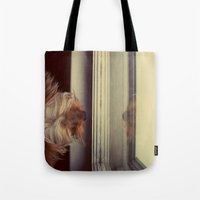 yorkie Tote Bags featuring Yorkie Daydreaming by Jonora Fabrics