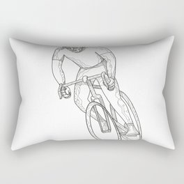 Road Bicycle Racing Doodle Rectangular Pillow