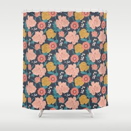 Paint by Numbers Florals on Navy Shower Curtain