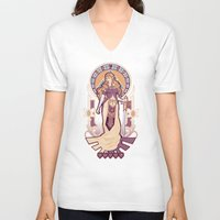nouveau V-neck T-shirts featuring Zelda Nouveau by Megan Lara