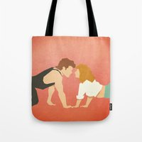 dirty dancing Tote Bags featuring Dirty Dancing (80's Minimalism Series) by Trevor Downs