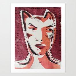 Cat Woman Cartoon Face Art Print