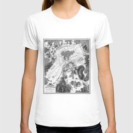 Vintage Map of The Gettysburg Battlefield (1863)BW T-shirt