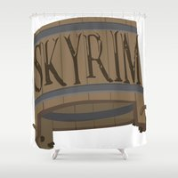skyrim Shower Curtains featuring SKYRIM: BUCKET by MDRMDRMDR