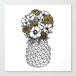 Pineapple Bouquet Gold Canvas Print