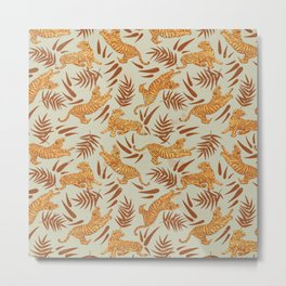 Vintage Golden Tigers Pattern / Big Cats, Leaves, Nature Metal Print