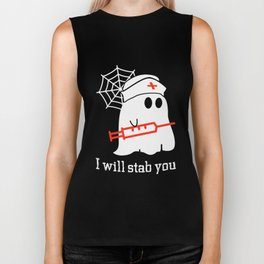 i will stab you funny nurse mom Biker Tank