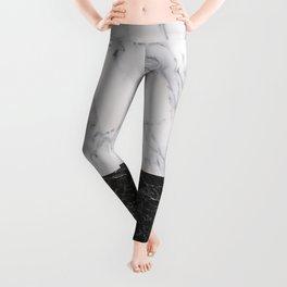 Marble Black & White Leggings