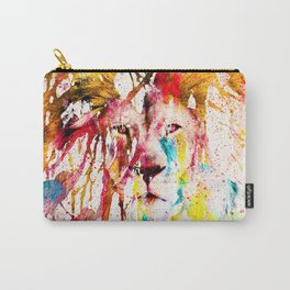 Wild Lion Sketch Abstract Watercolor Splatters Carry-All Pouch