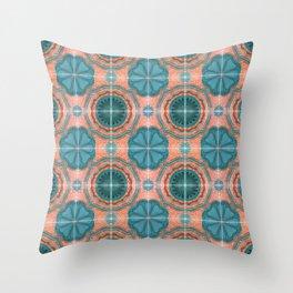 Portuguese Tiles Azulejos Blue Red Pattern Throw Pillow